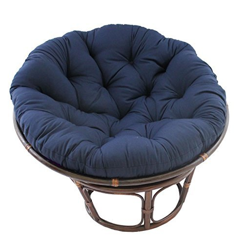 International Caravan 3312-TW-NV-IC Furniture Piece 42-Inch Rattan Papasan Chair with Solid Twill Cushion
