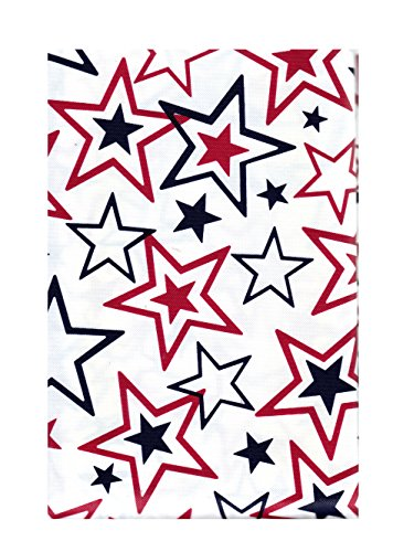 Patriotic July 4th Stars PEVA Vinyl Tablecloth Flannel Backed Red White Blue (60 Round) ()