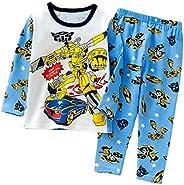 Happy angel Little Boys Girls 100% Cotton Super Soft Long Sleeve Pajamas Set Cartoon Sleepwear