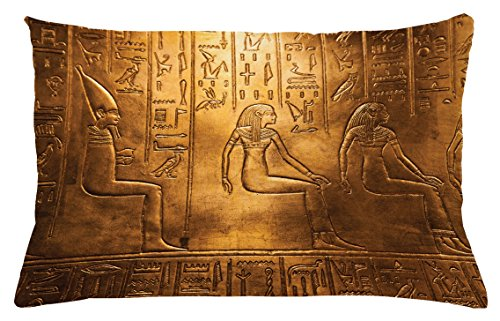 Gold Antique Rectangle Rug (Lunarable Egyptian Throw Pillow Cushion Cover, Egyptian Hieroglyphics Old Texts Logographic and Antique Alphabetic Elements, Decorative Accent Pillow Case, 26 W X 16 L Inches, Gold and Brown)