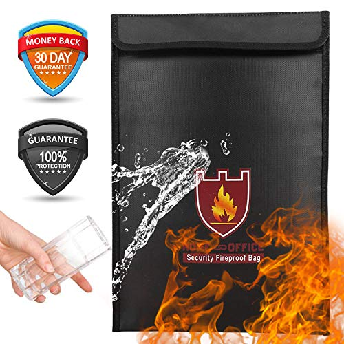 Fireproof Bag Money Document Bag Silicon Coated Double Layer Fiberglass Fire Resistant Waterproof Large Fireproof File Box Fireproof Safe Storage for Money Documents Cash Valuables Passport (Black)