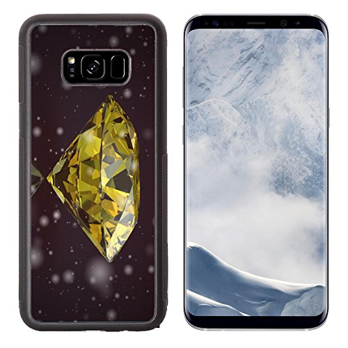 Luxlady Samsung Galaxy S8 Plus S8+ Aluminum Backplate Bumper Snap Case IMAGE ID: 34731556 yellow sapphire on black background Vintage Style (Brilliant Yellow Gem Sapphire)