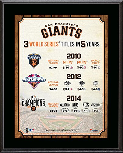 "San Francisco Giants Three Titles in Five Years 10.5"" x 13"" Sublimated Plaque - MLB Team Plaques and Collages by..."
