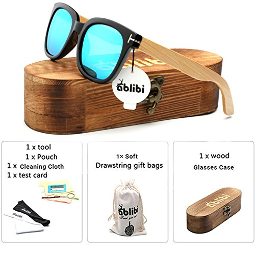 Ablibi Mens Womens Bamboo Wooden Sunglasses Polarized Coating Lenses Eyewear In Wood Box (Black, Ice - Lentes De Mujer