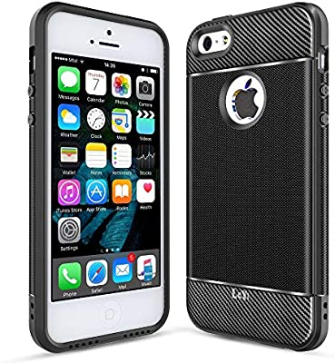 LeYi Funda iPhone 5/5S/SE, Original Carcasa Textura Fibra de Carbono Ultra Slim Silicona Soft Case TPU Gel Bumper Shockproof Antigolpes Cover para ...