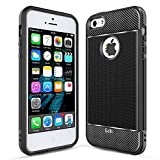 iPhone SE Case, iPhone 5S Case, iPhone 5 Case, LeYi Carbon Fiber Design Slim Soft Feeling Shock-Absorption Anti-Scratch&Fingerprint Full Protective TPU Phone Case for iPhone 5/5s/se ZX Black