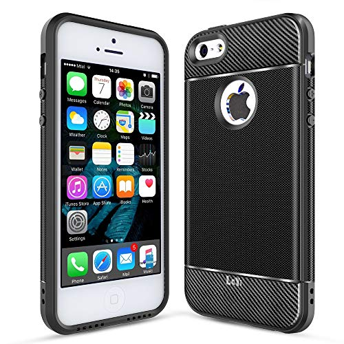 iPhone SE Case, iPhone 5S Case, iPhone 5 Case, LeYi Carbon Fiber Design Slim Soft Feeling Shock-Absorption Anti-Scratch&Fingerprint Full Protective TPU Phone Case for iPhone 5/5s/se ZX Black