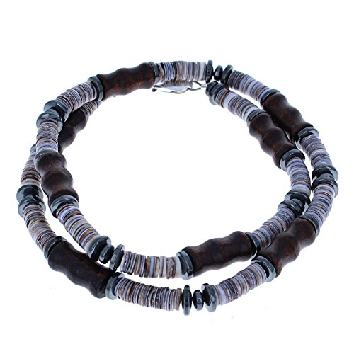 Mens Hematite (Hemalyke), Brown Bamboo Wood & Tiger Cowrie Heishi Beaded Necklace - 24