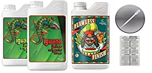 Advanced Nutrients Iguana Juice Bloom & Grow Organic 4L & Flawless Finish 4L Bundle with Twin Canaries Conversion Chart and 3mL Pipette