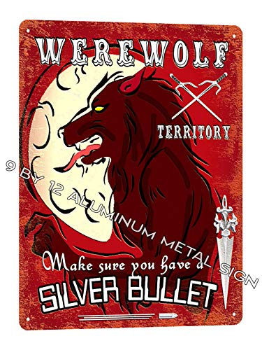 Werewolf Metal Sign/Halloween Scary Halloween Haunted House Retro Kids Wall Decor 734]()