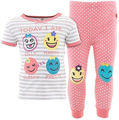 Duck Duck Goose Little Girls' Emoji Coral Cotton Pajamas (Little Goose Girl)