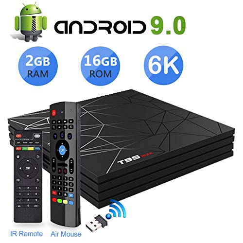 Android 9.0 TV Box, T95 Max Android TV Box with MX3 2.4G Air Mouse & Remote Control, 2GB RAM 16GB ROM H6 Quad-Core…