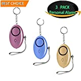 Personal Alarm Keychain 3 Pack 140db Self Defense Security Alarms Safesound Safety Emergency Alarm with LED SOS Survival Whistle Providing Powerful Safety and Property Assurance for Kids,Women More