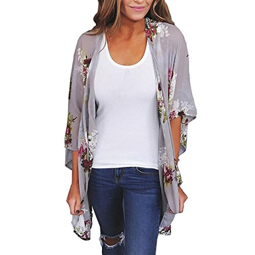Tootu Women Chiffon Loose Shawl Print Kimono Cardigan Top Cover Up Blouse Beachwear (XXXL, Gray)