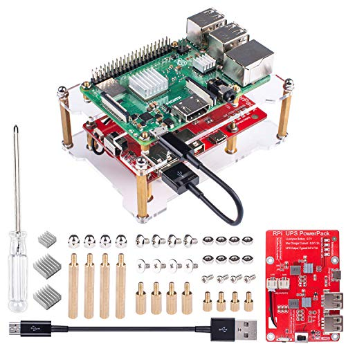 Smraza Raspberry Pi 3 B+ Battery Pack Expansion Board RPI 3 Model B+ USB Battery Pack with Acrylic Case for Raspberry Pi 3 B+(Plus), 3B, - Expansion Kit Battery