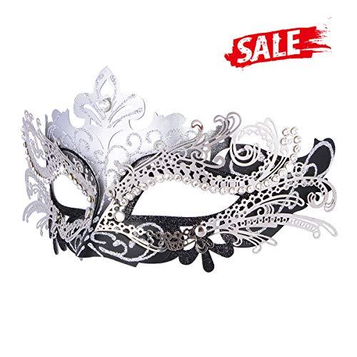 Hoshin Masquerade Mask, Mardi Gras Deecorations Venetian Masks for Womens (Silver & Black)