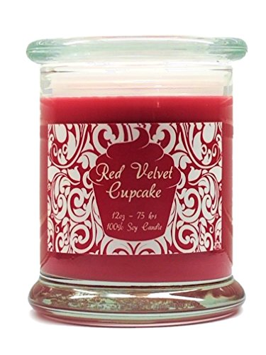 Red Velvet Cupcake Candle Soy Wax 12oz Valentine's Day Scented Candle with free gift box by S&M Web Widgets