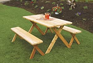 Outdoor 8 Foot Cross Leg Pine Picnic Table with 2 Benches - STAINED- Amish Made USA -Linden Leaf