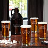 Classic Brewery Personalized Beer Glasses and Growler (Customizable Product)