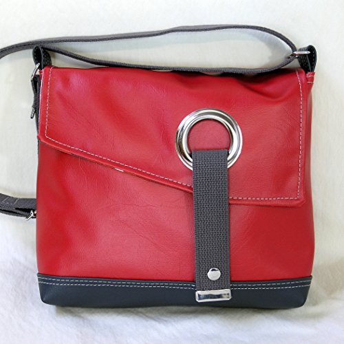 Stella Crossbody Messenger Bag, Faux Leather Messenger in Cherry Red by Zaum