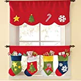 Sandistore Door Window Drape Panel Christmas Curtain Decorative Home