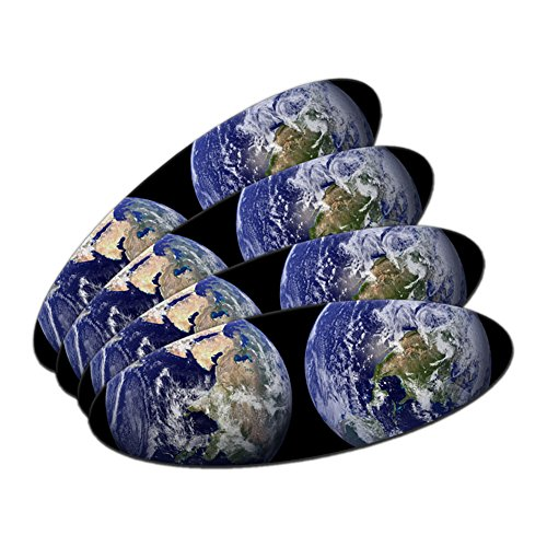 (Two Sides of Earth - Planet Terra Double-Sided Oval Nail File Emery Board 4 Pack)
