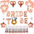Rose Gold Bachelorette Party Decorations - IMANYA Bridal Shower Decorations Including 1 Bride to Be Banner, 2 Heart & 2 Star Foil Balloons, 15 Rose Gold Balloons, 5 Confetti Balloons and 10 Tassels