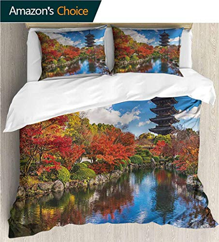 Kyoto King Bed - carmaxs-home Bedding Bedspread,Box Stitched,Soft,Breathable,Hypoallergenic,Fade Resistant Colorful Floral Print -3 Pieces-Japanese Pagoda Kyoto Fall Season (90