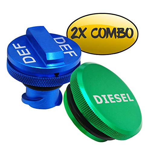 Billet Aluminum Fuel Cap Combo Pack,Diesel Fuel Cap for Dodge - Magnetic Green Diesel Fuel Cap and Non-magnetic Blue DEF Cap for 2013-2018 Dodge Ram Diesel Trucks 1500 2500 3500 (System Fuel Caps)