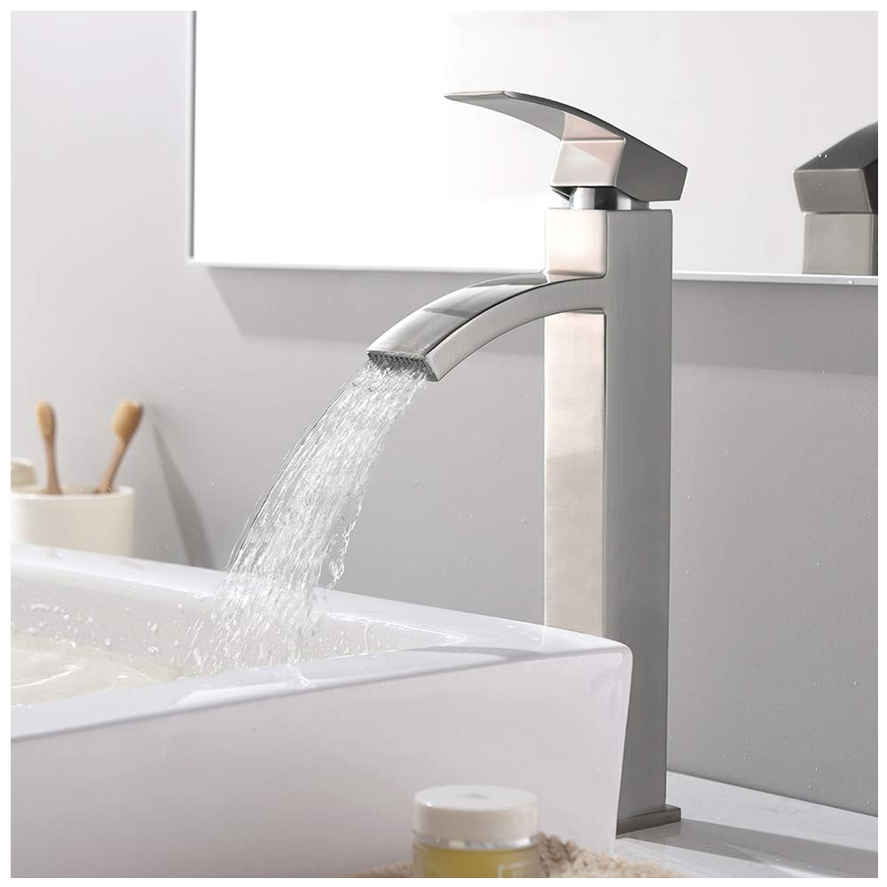 VCCUCINE Contemporary Modern Brushed Nickel 12.52'' Tall Bathroom Vessel Sink Faucet, Single Handle Stainless Steel Sink Faucet