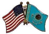 PACK of 3 Kazakhstan & US Crossed Double Flag Lapel Pins, Kazakhs & American Friendship Pin Badge