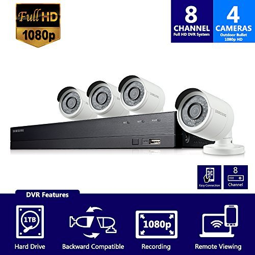 (Samsung Wisenet SDH-B74041 8 Channel 1080p Full HD DVR Video Security Camera System 4 Outdoor BNC Bullet Camera (SDC-9443BC) with 1TB Hard Drive )