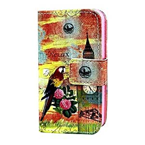 DD BIrd and Rose PU Leather Full Body Case with Card Holder for iPhone 4/4S