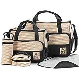 Tinny Tots 5pcs/Set Baby Diaper Bag Nappy Mummy Bag Print Maternity Handbag Changing Baby Messenger Bag (Black)