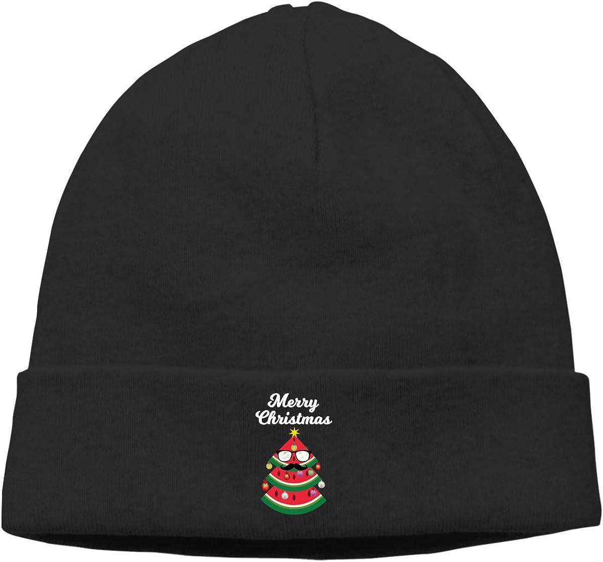 Riokk az Watermelon Tree Merry Christmas Knit Caps Beanie Hat Skull for Mens Black