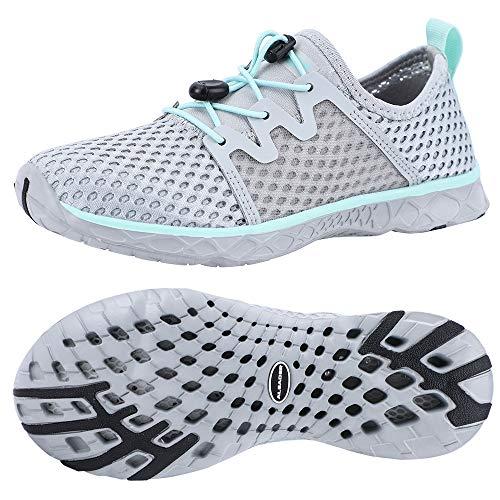 ALEADER Womens Stlylish Aqua Water Shoes, Comfort Tennis Walking Sneakers LT Gray/Aqua Sky 8 B(M) US