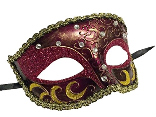 Raspberry Fuschia Gold Half Mask Glitter Swirls Gem Mardi Gras Costume (Paper Mache Pumpkin Costume)