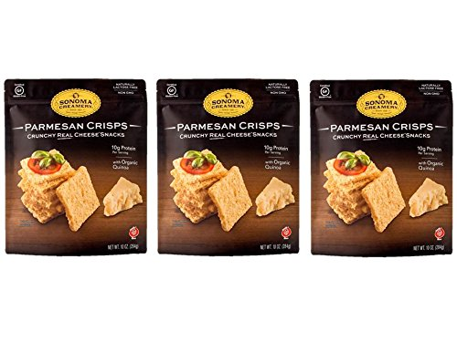 Sonoma Creamery Cheese Crisps - Parmesan 3 Count Pack Savory Cheese Cracker Snack High Protein Low Carb Gluten Free Wheat Free (10 ounces ea.)