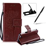 Strap Leather Case for iPhone 5C,Bookstyle Magnetic [Brown Solid Color] Stand Flip Case for iPhone 5C,Herzzer Premium Elegant Butterfly Tree Cat Print Fold Wallet Folio Smart Case For iPhone 5C + 1 x Black Cellphone Kickstand + 1 x Black Stylus Pen