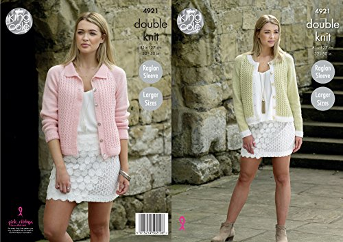 King Cole Ladies Double Knitting Pattern Womens Raglan Sleeve Round Neck or Collared Cardigan ()
