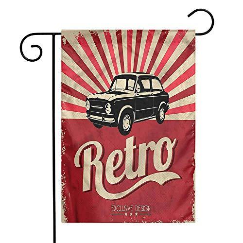 WinfreyDecor Cars Garden Flag Retro Poster Style Vehicle Premium Material 12