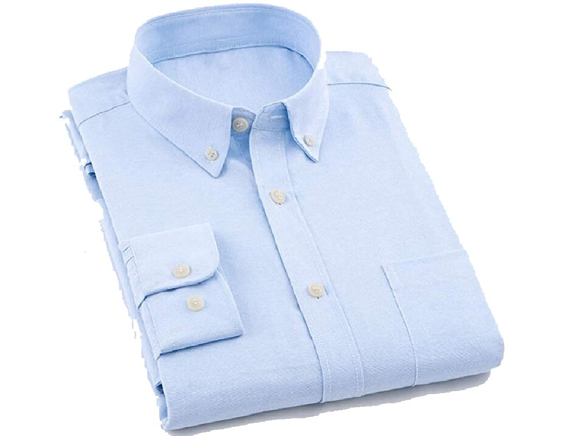 Comaba Men Casual Slim Fit Solid Colored Long Sleeve Buttoned Dress Shirt