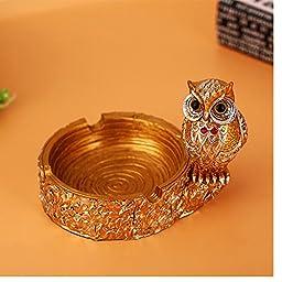 SIS Polyresin Owl artware,artifact,handicraft,cigarette ashtray for Men(golden ashtray)
