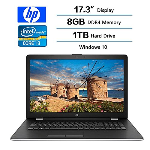 2017 HP 17.3″ Business Flagship Laptop PC HD+ WLED-backlit Display Intel i3-7100U Processor 8GB DDR4 RAM 1TB HDD Intel 520 Graphics DVD-RW 802.11AC Wifi Webcam HDMI Windows 10-Silver