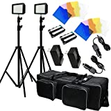 Julius Studio LED Light Kit Dimmable Power Panel with Color Filters Camera - Video Kit for Canon Nikon Sony and Other Digital SLR Cameras - Li-ion Battery Charger - Premium Carry Bag