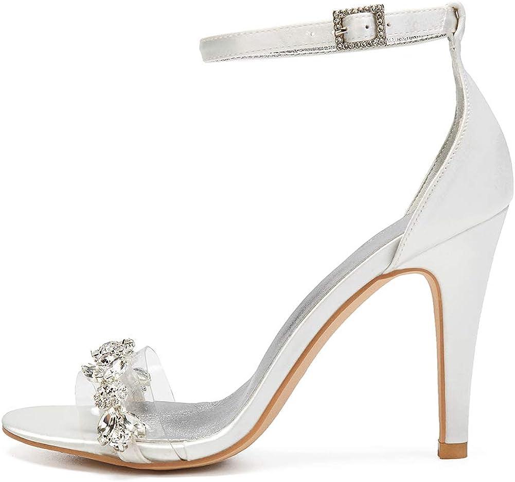 MNVOA Multicolor matrimonio/partito/quotidiano scarpe, 10,5 centimetri tacco alto Womens sandali, raso e plastica con fibbia Ivory