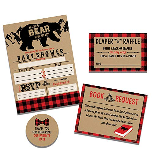 Lumberjack Rustic Baby Shower Invitation Set, Diaper Raffle, Book Request and Stickers by Impressions