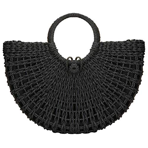 Straw Bag Large Woven Hobo Bag Women Round Handle Ring Tote Retro Summer Beach Shoulder Bag (Black)