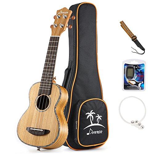 (Donner Zebrawood Ukulele Soprano DUS-2 21 inch Ukulele Kit with Case Tuner Strap Nylon String)
