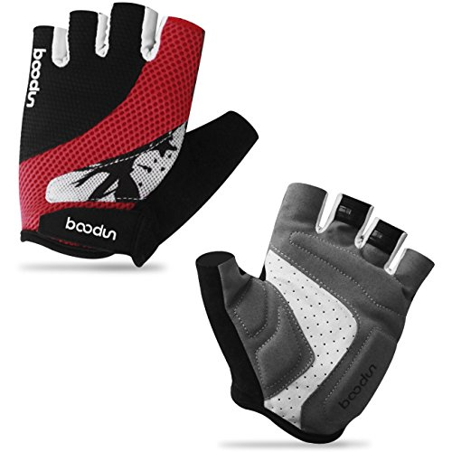 Sandwich Mesh Non-slip Foam Pad Half Finger Short Gloves for Cycling Mountain Bike Road Racing Bicycle Riding Motorcycle Driving Gym Fitness Exercise Body Building Training (Black Red, XL)